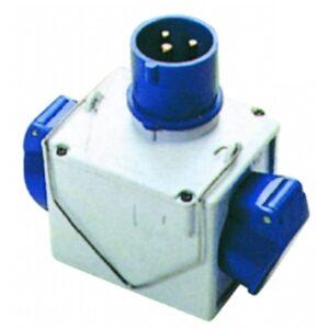 Adaptador Cetac 220v Clavija Macho Azul 2p+Tt A 2 Cetac Hembra 2p+Tt En Forma T 16a Azul Ip 44
