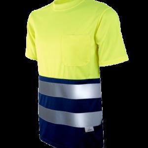 Camiseta Alta Visibilidad Bicolor Amarillo Flúor-Marino 1030