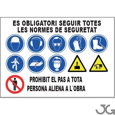 "Señal Obra Multiseñal ""Prevenció Riscos Laborals"" C/Ojales1000x700 Catalá 12 Simbolos Epi l Macia"