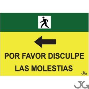 Señal Indicativa Pvc 500×700 Por Favor Disculpe Las Molestias Peatones Flecha Autoadhesiva C/Ojales