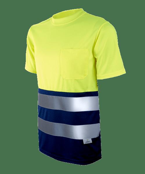 Camiseta Alta Visibilidad Transpirable Amarillo Flúor Con Bolsillo 1030c Tallas