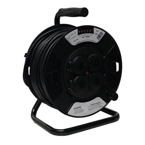 Enrolla Cable 50mt 220v 4 Tomas Schuko Con Tapa 3×1.5mm dss Exterior 1408260 ip44