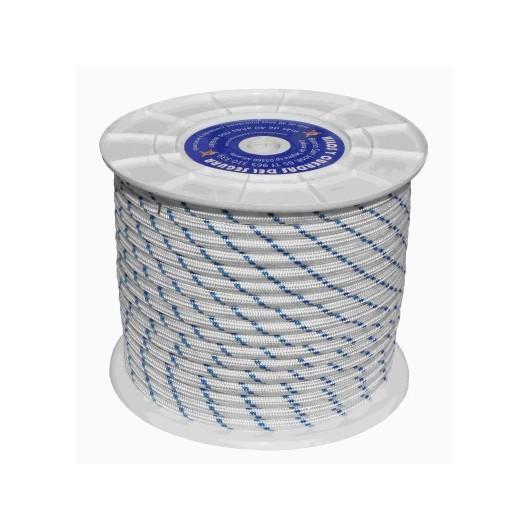 Cuerda Trenzada 14mm 100mts Nylon Alta Tenacidad cr 780kg Elast. 30% Blanco/Azul