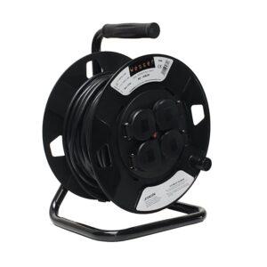 Enrolla Cable 25mt 220v 4 Tomas Schuko Con Tapa 3×1.5mm dss Exterior 1408250 ip44
