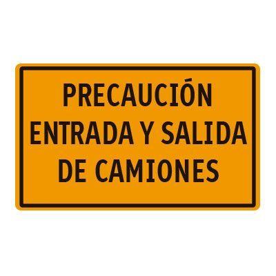Señal Obra Placa Complementaria 400×200 Entrada Y Salida Camiones F. Amarillo