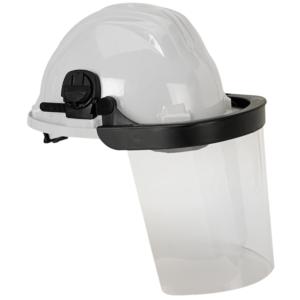 Casco Obra Blanco 5rg + Protector Facial Abatible Policarbonato Transparente