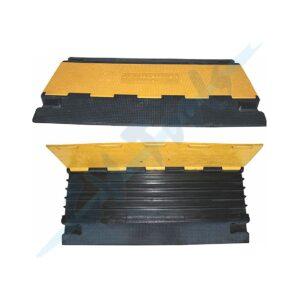Puente Pasa Cables Trafico 900x500x50mm 5 Canales de 4×3 cm. 15kg Caucho Negro/Amarillo 10tn