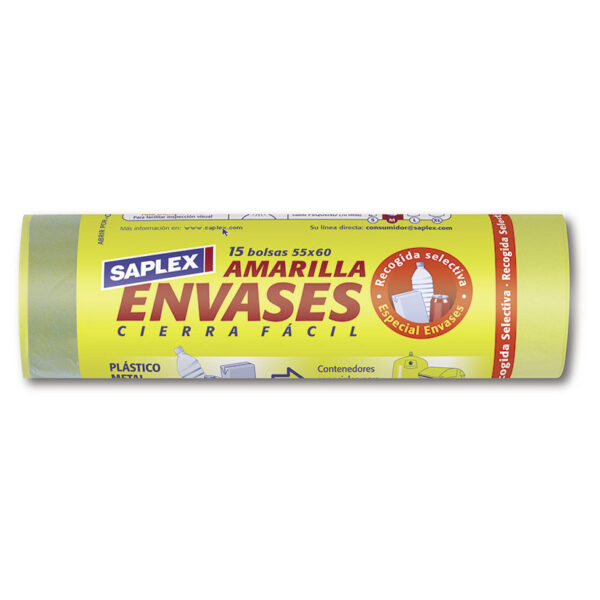 BOLSAS BASURA ENVASES 55X60CM.15 UN